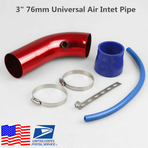 Universal 3 Car Cold Air Intake Alumimum Pipe Induction Kit Pipe Hose W Clamps