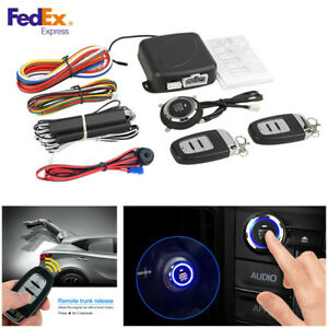 One button Start Car Alarm Security System Keyless Entry Push Button Remote Kit
