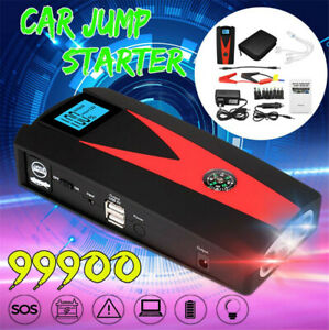 99900mah Car Emergency Jump Starter Battery Booster 2 Usb Charger Power Bank 12v