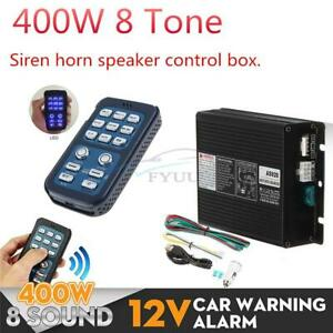 400w 8 Tone Car Warning Alarm Speaker Pa System Siren Horn Control Box W Remote