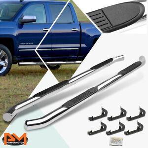For 07 19 Silverado sierra Crew Cab 3 Side Step Nerf Bar Running Board Chrome