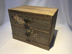 Japanese Vintage Wooden Lacquered Sewing Box Haribako Chest Tansu 2 Drawers