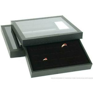 2 36 Slot Black Ring Display Acrylic Lid Case