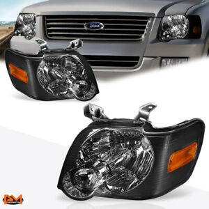 For 06 10 Ford Explorer Headlight lamp Set Smoked Housing Amber Side Corner Pair