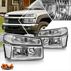 For 04 12 Chevy Colorado gmc Canyon Bumper Headlight lamps Clear Corner Chrome
