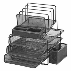 Designa Stackable Mesh Desk Organizer With 3 Sliding Letter Tray Drawers 4 Fi