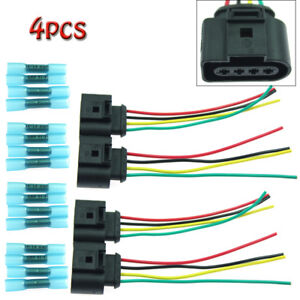 4 Pack Ignition Coil Connector Harness Plugs Wiring W terminals For Audi A4 Vw