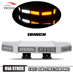 18inch Tow Truck Flash Rooftop 40 Led Strobe Light Bar Emergency White amber