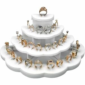 White Faux Leather Jewelry Display Stand Holds 29 Rings Kit 2 Pcs