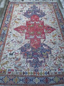 Vintage Antique Large Rug Estate 76 By 106 Inches Ornate Persian Soumakh Tribal