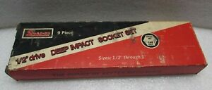 Exc Vintage Snap on 309simy 1 2 Drive Deep Impact Socket Set In The Box