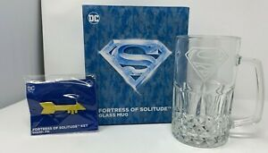 CultureFly DC Worlds Finest Superman Glass Mug and Key Pin Fortress Of Solitude
