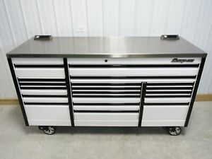 Snap On White Black 84 Epiq All Drawer Tool Box Stainless Steel Power Top