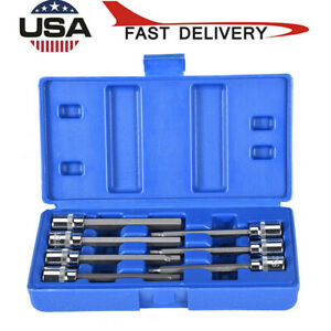 7pcs 3 8 Drive Impact Socket Hex Bits Sae Set Metric Long Air Allen Driver