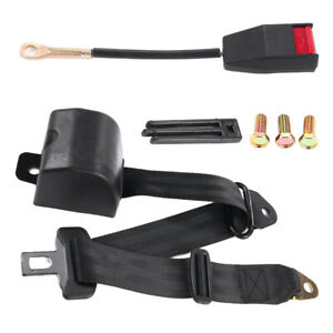 3 Point Universal Strap Retractable Safe Seat Belt Black For Nissan Honda Toyota
