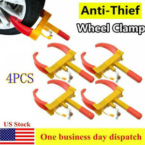 4x Wheel Lock Clamp Anti Theft Boot Tire Claw Trailer Auto Car Suv Truck Parking