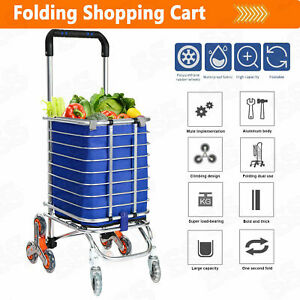 Folding Shopping Cart Jumbo Basket Grocery Laundry Travel With 8 Stair Wheels