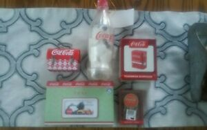 Coca-Cola Lot 5 - Toothpick dispenser cards bottle bank and more.NEW
