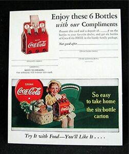 Coca Cola 1940 Salesman Adv 6 Bottle Carton Complimentary Card Old Unused Stock
