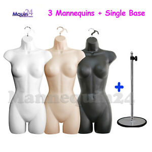 3 Mannequin Female Torsos Set White Flesh Black Dress Forms W 3 Hangers 1 Stand