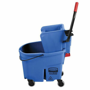 Rubbermaid Wavebrake 35 Qt Mop Bucket With Side Press Wringer Blue
