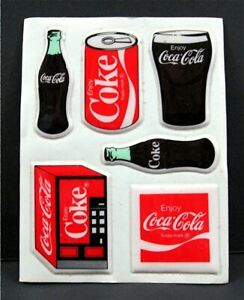 3 Coke Coca Cola Old Logo Asst Images Puffy Sticker Sheets Old Store Stock