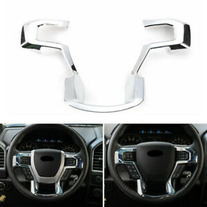 Car Interior Chrome Steering Wheel Moulding Cover Trim For Ford F150 2015 Abs