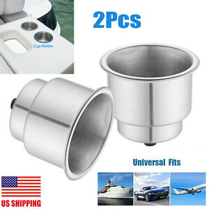 2 X Stainless Steel Cup Drink Holder Brushed For Marine Boat Car Truck Camper Rv
