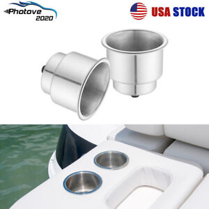 2x Stainless Steel Cup Drink Holder Brushed For Marine Boat Car Truck Camper Rv