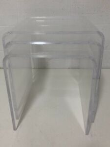 Vintage 3 Lucite Waterfall Nesting End Tables Mid Century Modern