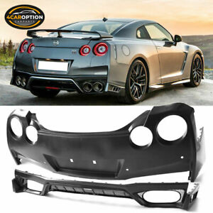 Fits 09 18 Nissan Gtr R35 Oe Factory Rear Bumper Cover Conversion Black Pp