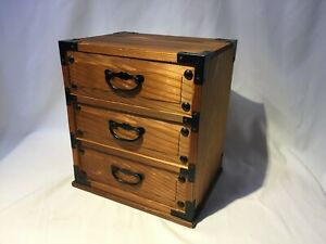 Japanese Vintage Wooden Sewing Box Haribako Chest Tansu 3 Drawers