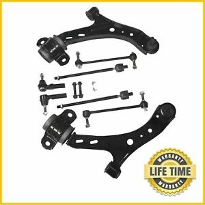 8x Suspension Kit Front Lower Control Arms Tie Rod Fits 2005 2010 Ford Mustang