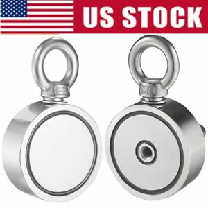 Round Double Sided Super Strong Neodymium Fishing Magnet 500 700lb Pulling Force