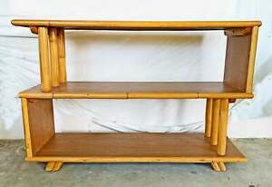 Bookshelf Vintage Antique Rattan Modern Mid Century Z Shelf Modernism Angular