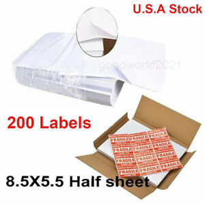 200 Shipping Labels 8 5x5 5 Half Sheets Blank Self Adhesive 2 Per Sheet Ups Usps