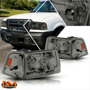 For 01 11 Ford Ranger Truck Smoked Housing Headlight Amber Side Corner Lamp Pair