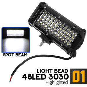 7 Inch 144w 48led Work Light Bar Spot Beam Driving Fog Lamp Off Road Tractor 4wd
