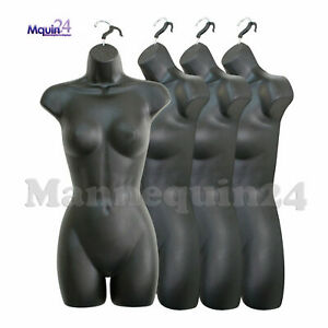 4 Pack Mannequin Torso Female Black Plastic Dress Body Forms With Hangers