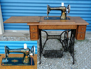 1915 Vintage Singer No 66 Red Eye Treadle Sewing Machine W Original Cabinet