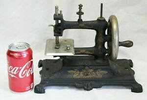 Rare Antique Victorian Hand Crank Cast Iron Miniature Sewing Machine Works