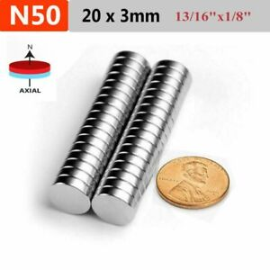 5 10 25 100pcs Strong Disc Rare Earth Neodymium Magnets 20mm X 3mm 13 16 x1 8