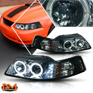 For 99 04 Ford Mustang Halo Ring Led Drl Projector Headlight lamp Smoked Housing