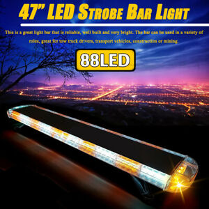 88 Led 47 Emergency Work Light Bar Strobe Flashing Warning Truck Roof Amber Us