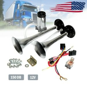 Loud Single Trumpet Train Air Horn System Kit Car Truck Boat Rv 12v 150db Black
