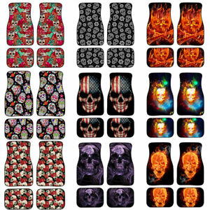 Froal Flame Skull Floor Mats Fashion Car Carpet All Weather Protect 2 4 Pcs Set