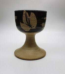 Vintage 1972 Pacific Stoneware B. Welsh Pottery Goblet Brown Leaves 4.75quot; Tall