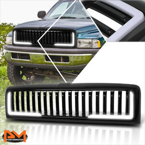 For 94 02 Dodge Ram Vertical Fence Abs Plastic Front Bumper Hood Grill W Led Drl