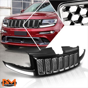 For 14 16 Jeep Grand Cherokee Srt8 Honeycomb Mesh Front Bumper Grille W led Drl