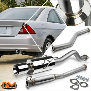For 01 05 Honda Civic Ex 1 7l Em es 4 Rolled Tip Muffler Catback Exhaust System